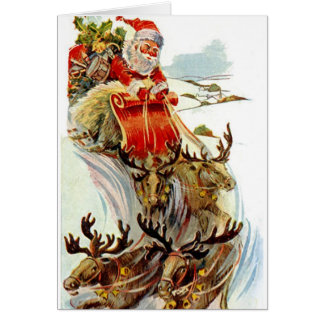 Santa and Reindeer Sleigh Christmas Card