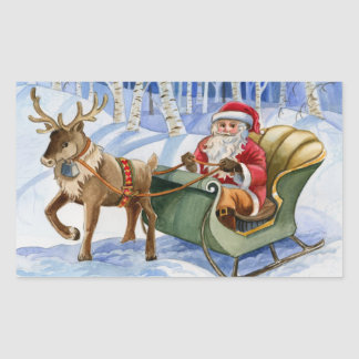 Santa and Reindeer Sleigh Stickers