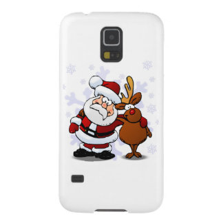 Santa and Reindeer Standing Arm in Arm Cases For Galaxy S5