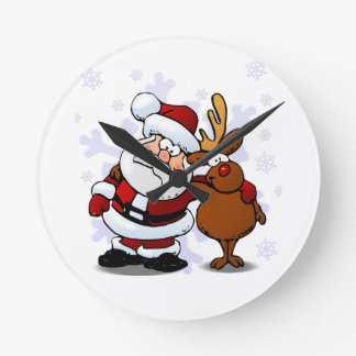 Santa and Reindeer Standing Arm in Arm Round Clock