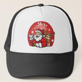 Santa and Reindeer Trucker Hat