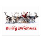 Santa and Reindeers Postcard