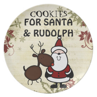 santa and rudolph cookie plate
