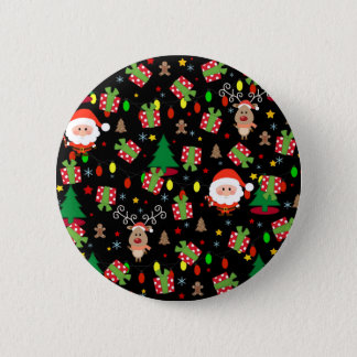 Santa and Rudolph pattern 2 Inch Round Button