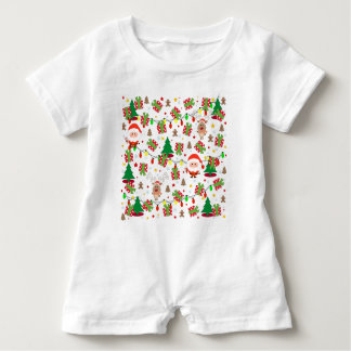 Santa and Rudolph pattern Baby Romper