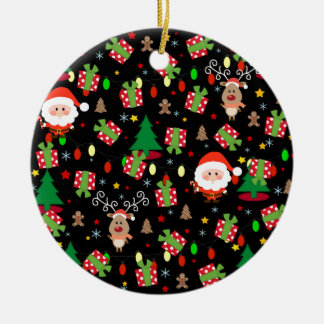 Santa and Rudolph pattern Ceramic Ornament