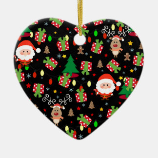 Santa and Rudolph pattern Ceramic Ornament