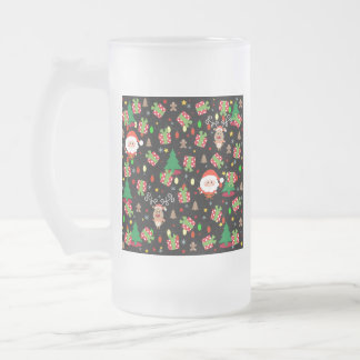 Santa and Rudolph pattern Frosted Glass Beer Mug
