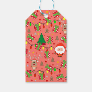 Santa and Rudolph pattern Gift Tags