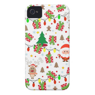 Santa and Rudolph pattern iPhone 4 Case-Mate Case