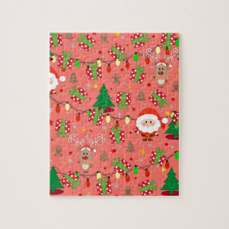 Santa and Rudolph pattern Jigsaw Puzzle