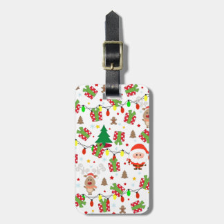 Santa and Rudolph pattern Luggage Tag