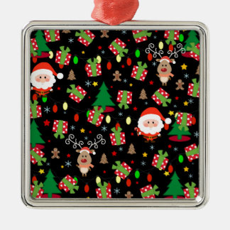 Santa and Rudolph pattern Metal Ornament