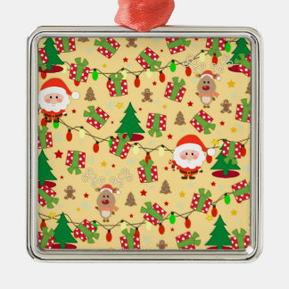Santa and Rudolph pattern Metal Ornament