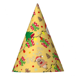 Santa and Rudolph pattern Party Hat