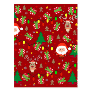 Santa and Rudolph pattern Postcard