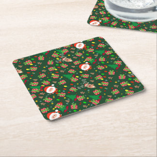 Santa and Rudolph pattern Square Paper Coaster