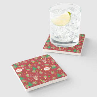 Santa and Rudolph pattern Stone Coaster