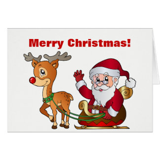 Santa and Rudolph Saying Merry Christmas Card