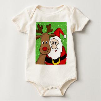 Santa and Rudolph sefie Baby Bodysuit