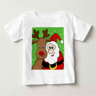 Santa and Rudolph sefie Baby T-Shirt