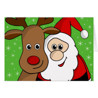 Santa and Rudolph sefie Card