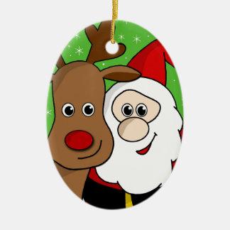 Santa and Rudolph sefie Ceramic Oval Ornament