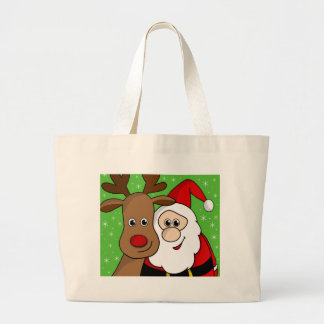 Santa and Rudolph sefie Large Tote Bag