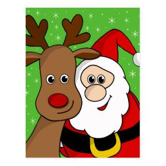 Santa and Rudolph sefie Postcard