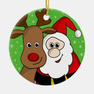 Santa and Rudolph sefie Round Ceramic Ornament