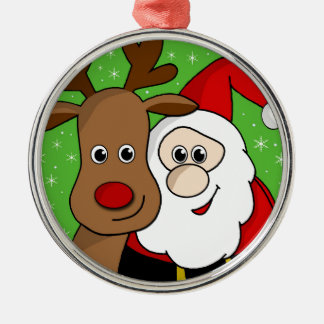Santa and Rudolph sefie Silver-Colored Round Ornament
