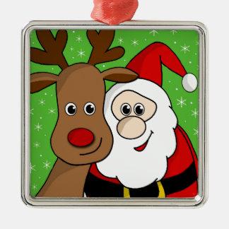 Santa and Rudolph sefie Silver-Colored Square Ornament