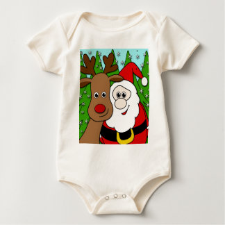 Santa and Rudolph selfie Baby Bodysuit