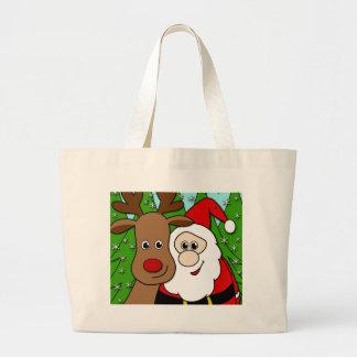 Santa and Rudolph selfie Large Tote Bag