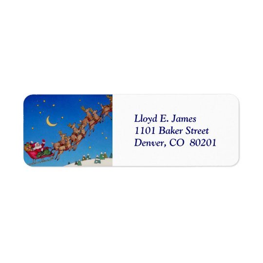 Santa and Sleigh Return Address Label