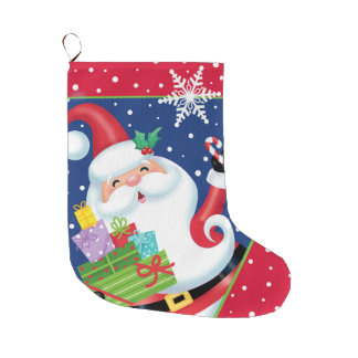Santa and Snowflake Stocking Large Christmas Stocking