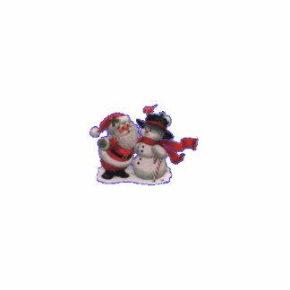 santa and snowman photo sculpture ornament
