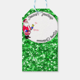 Santa and sparkly Christmas baubles Gift Tags