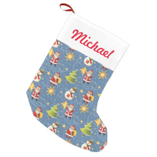 Santa And Stars Small Christmas Stocking