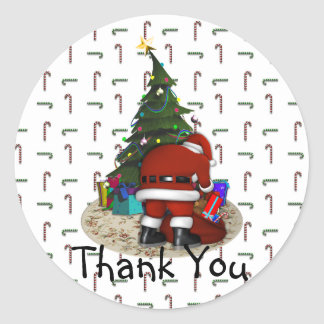 Santa and the Christmas Tree Classic Round Sticker