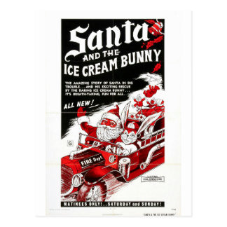 SANTA AND THE ICE CREAM BUNNY POSTCARD