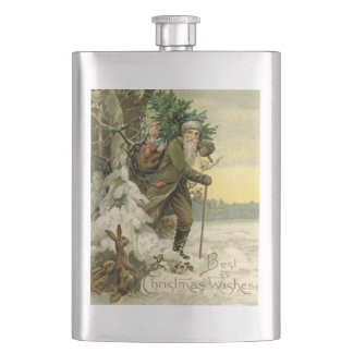 Santa and the Rabbits Hip Flask