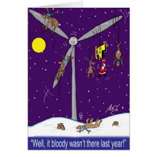 Santa and the wind farm cartoon card