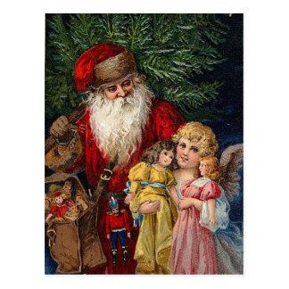 Santa Angel Victorian Dolls Christmas Postcard