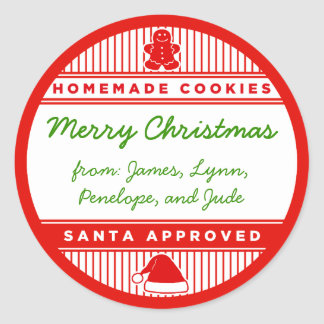 Santa Approved Homemade Cookies Classic Round Sticker