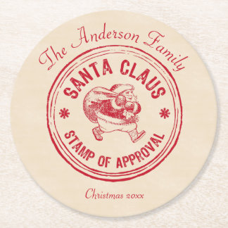 Santa Approved - Personalize It - Funny Round Paper Coaster