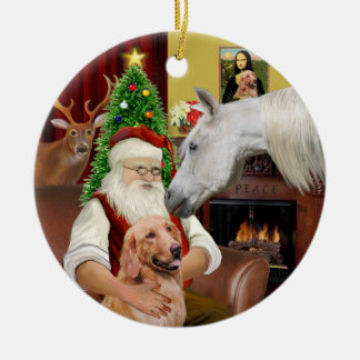 Santa - Arabian Horse and Golden Ceramic Ornament