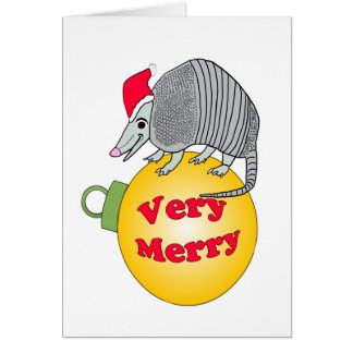 Santa Armadillo Very Merry Christmas Card
