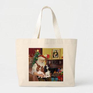 Santa At Home  Cavalier King Charles (two) Large Tote Bag