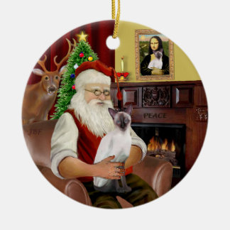 Santa at Home -  Chocolate Point Siamese Ceramic Ornament